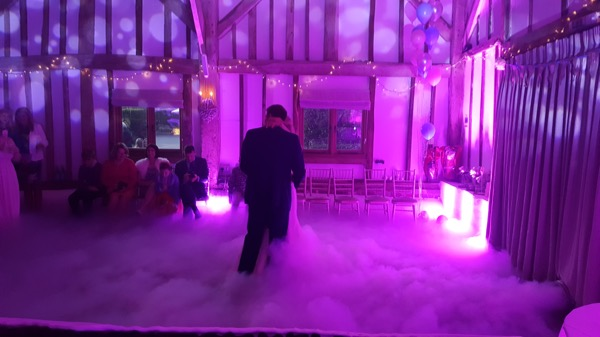 Fitzleroi Barn Wedding DJ dry ice