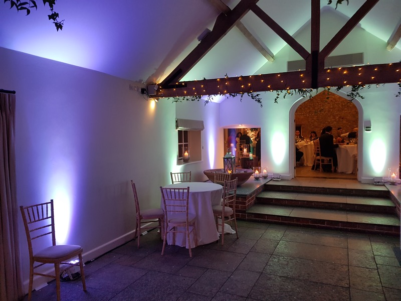 LED Up lights looking great at Farbridge Wedding Venue