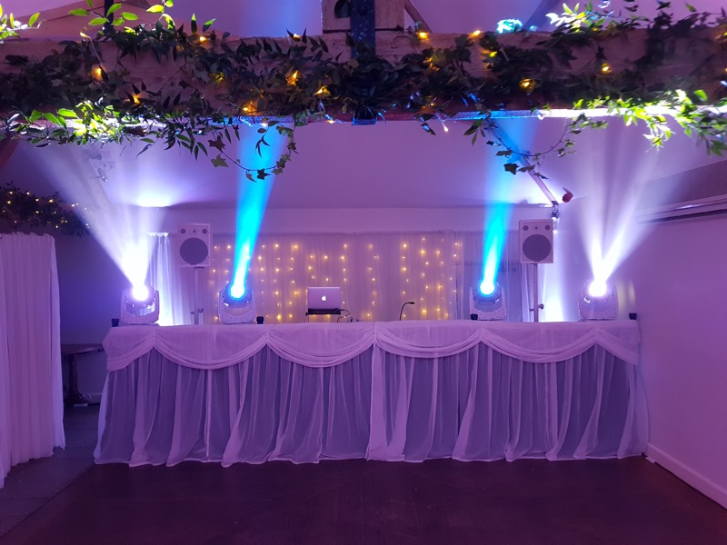 Silver Disco Setup showing off its lighting at Farbridge Wedding Venue