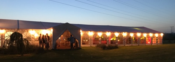 Oakwood Meadow Wedding Venue in the sunset with up lights from Chichetser Wedding DJ